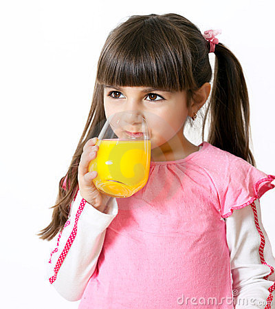 Girl with a glass of juice