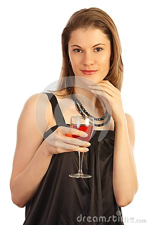 Girl with a glass of wine. Isolated on white