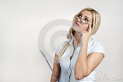 Girl with glasses and a folder