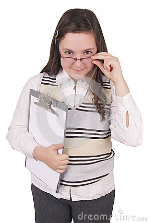 Girl with glasses and notepad