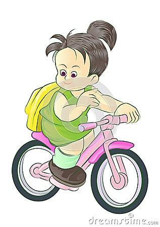 Girl go to school riding bike