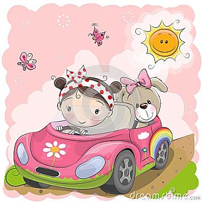 Girl goes on the car Vector Illustration