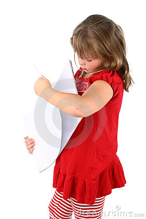 Girl going through few sheets of paper isolated