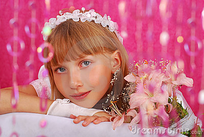 Girl going to the first holy communion (in studio)