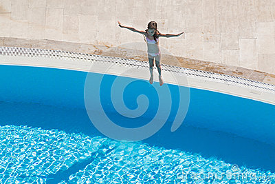 A girl  going to jump