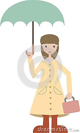 Girl going to school wears rain gear lunchbox