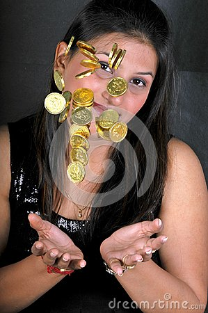 Girl with gold coins