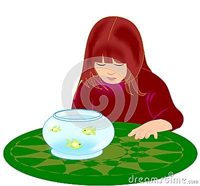 Girl with Goldfish Bowl