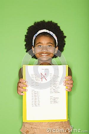 Girl with good grade.