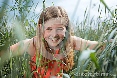Girl in grainfield