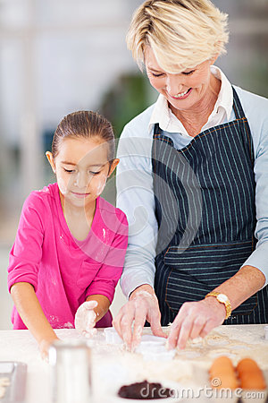 Girl grandmother baking
