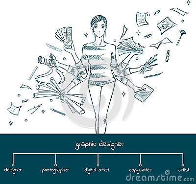 Free Girl Graphic Designer With Working Tools, Concept Royalty Free Stock Photos - 68494138