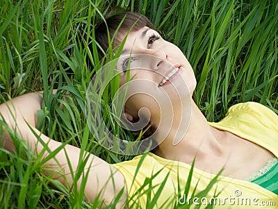 Girl on grass