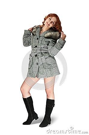 Girl in gray coat