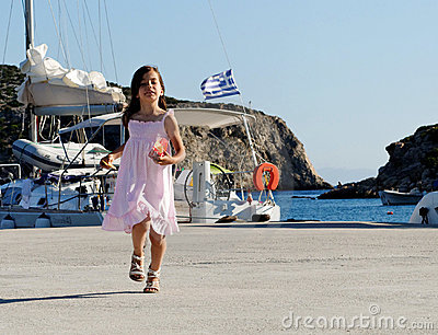 Girl in Greek harbor