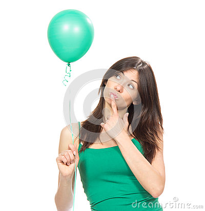 Girl with green balloon