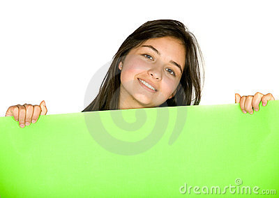 Girl with green banner