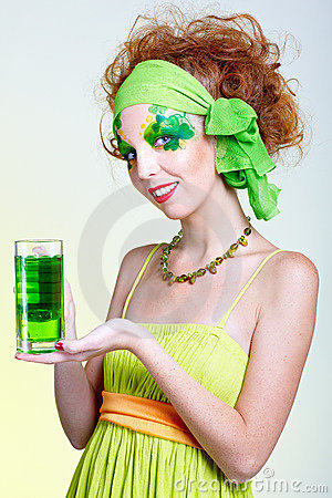 Girl With Green Beer Royalty Free Stock Photography - Image: 12854157