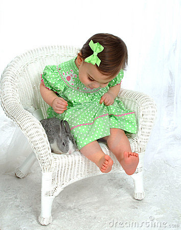 Girl In Green And Bunny Stock Photography - Image: 4864442