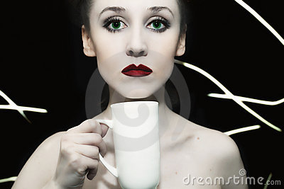 Girl with green eyes and red lips