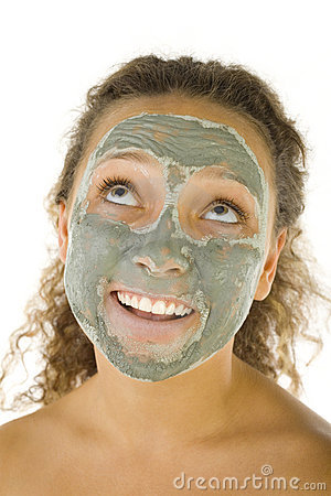 Girl in green face mask