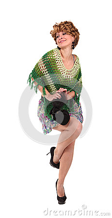 Girl in a green knit poncho