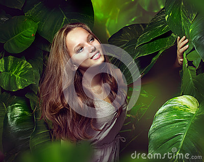 Girl in Green Mystical Forest