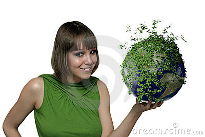 The girl with a green planet
