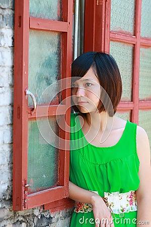 Girl in a green skirt