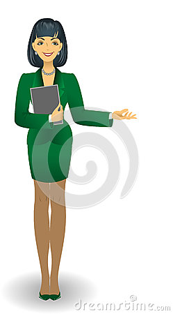 Girl in a green suit
