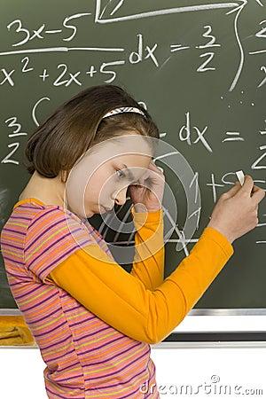 Girl at greenboard