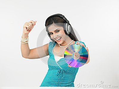 Girl grooving to the music
