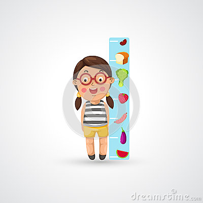 Girl growing tall and measuring