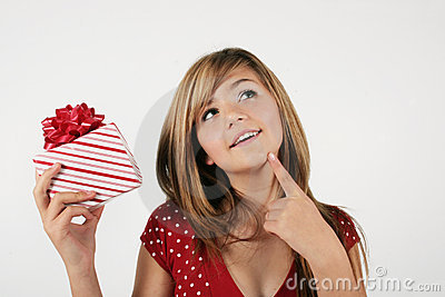 Girl guessing about present