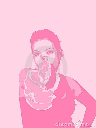 A girl, a gun