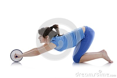 Girl with a gymnastic roller