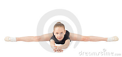 Girl gymnasts, sitting on the splits