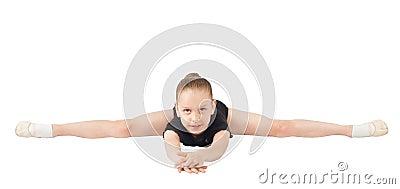 Girl gymnasts, sitting on the splits