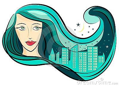 Girl hair and city vector