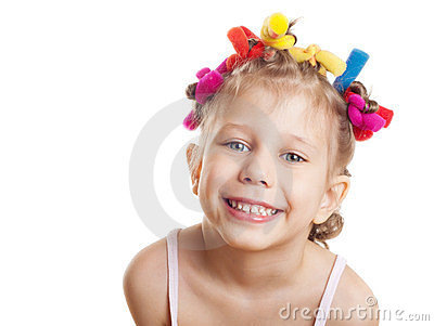 A girl in hair curlers