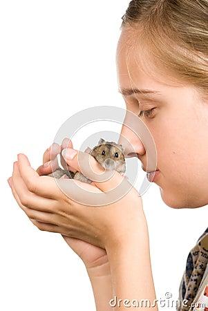 Girl and hamster