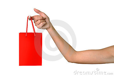 Girl hand with a bag Stock Photo
