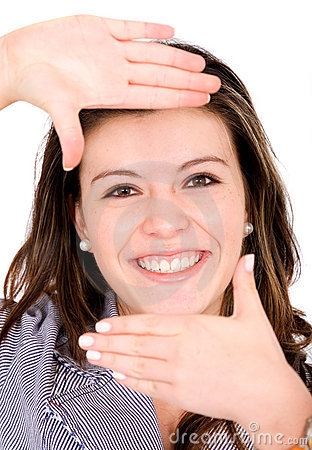 Girl hand framing her face