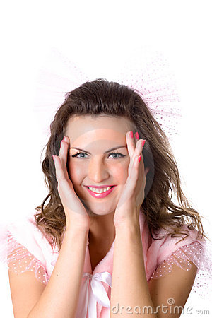 Girl with hands near her face