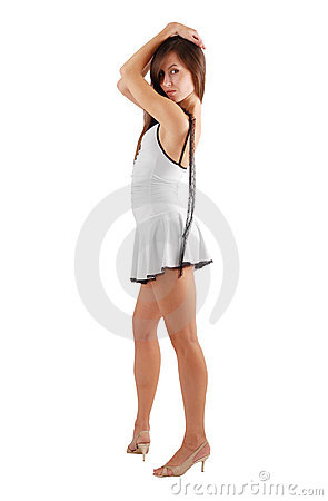 girl with hands put on head side view royalty free stock
