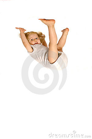 Girl hanging upside down
