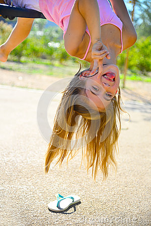 Woman upside down tongue