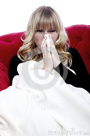Girl with hanky and illness