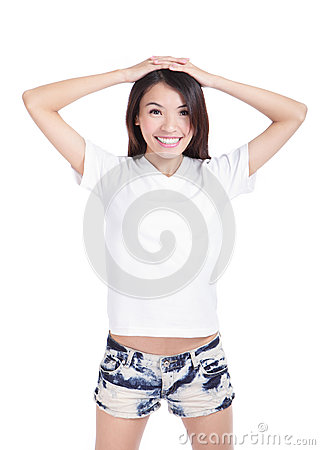 Girl happy smile show white T-Shirt