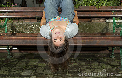 Girl Happy upside down